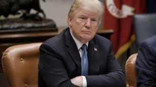 ترامب أثناء اجتماع في البيت الأبيض الاثنين 18 حزيران/يونيو 2018.