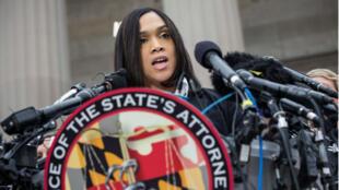 La procureure américaine, Marilyn Mosby, livre les conclusions de l'enquête le 1er mai 2015.