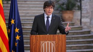 Carles Puigdemont lors d'un discours à Gérone le 28 octobre 2017.