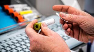 Un empleado del un laboratorio médico registra una muestra de nuevo coronavirus el 4 de marzo de 2020 en Roosendaal, Holanda