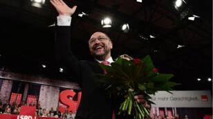 Martin Schulz après son élection à la tête du SPD, le 20 mars 2017 à Berlin.