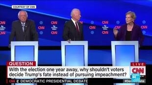 2019-10-16 10:01 US Democrats go on attack against Warren on healthcare, taxes at debate