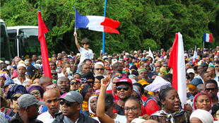 Manifestations à Mamoudzou, chef-lieu de Mayotte, mercredi 7 mars 2017.