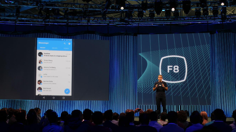 David Marcus, le responsable des produits de messagerie pour Facebook, lors de la conférence D8 des développeurs de Facebook, en 2015.