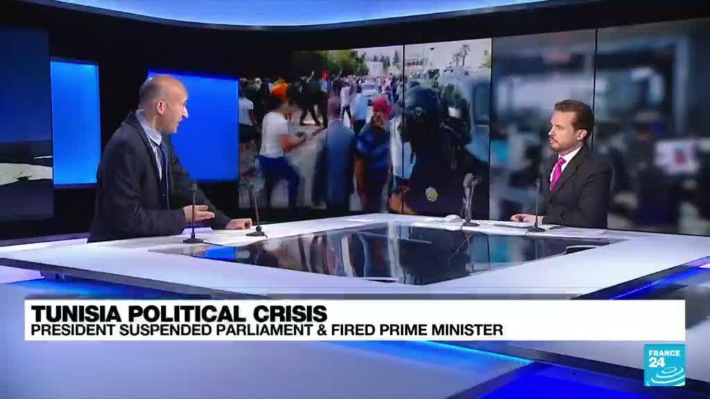 2021-07-26 16:04 Clashes in Tunisia after president ousts PM amid Covid protests