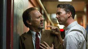 "Michael Keaton et Edward Norton dans ""Birdman"", film d'Alejandro Gonzales Inarritu plusieurs fois oscarisés."