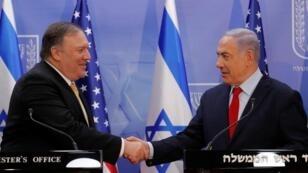 وزير الخارجية الأمريكي مايك بومبيو مع رئيس الوزراء الإسرائيلي بنيامين نتانياهو في القدس - 20 مارس/ آذار