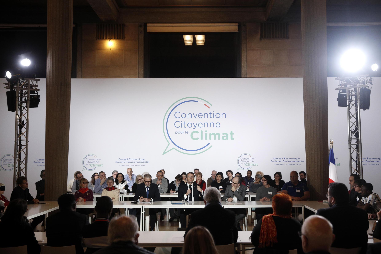 Emmanuel Macron, le 10 janvier 2020, lors de son passage devant la Convention citoyenne pour le climat.