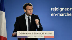 Former French Economy Minister Emmanuel Macron delivers a speech during a press conference to announce his candidacy for next year's presidential election on November 16, 2016 in Bobigny, near Paris.