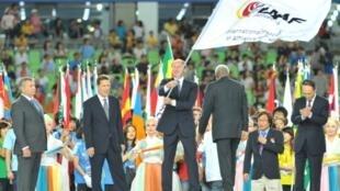 Valentin Balakhnichev, alors président de la Fédération russe d'athlétisme, le 4 septembre 2011 lors de la cérémonie de clôture des Mondiaux de Daegu, le 4 septembre 2011