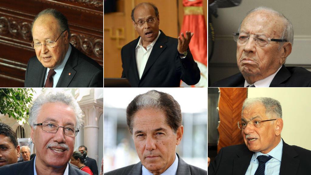 Mustapha Ben Jaafar, Moncef Marzouki, Béji Caïd Essebsi, Hamma Hammami, Abderrahim Zouari, Kamel Morjane