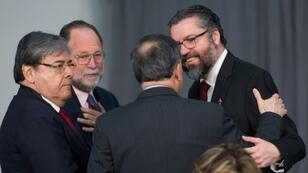 Ricardo Hausmann (2ndL) of Harvard's Center for International Development, meets with Latin American officials in Ottawa in February, 2019, before his appointment to represent Juan Guaido at the Inter-American Development Bank