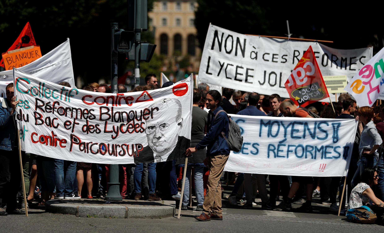 Manifestation contre le nouveau baccalauréat, dans les rues de Rennes, le 17 juin 2019.