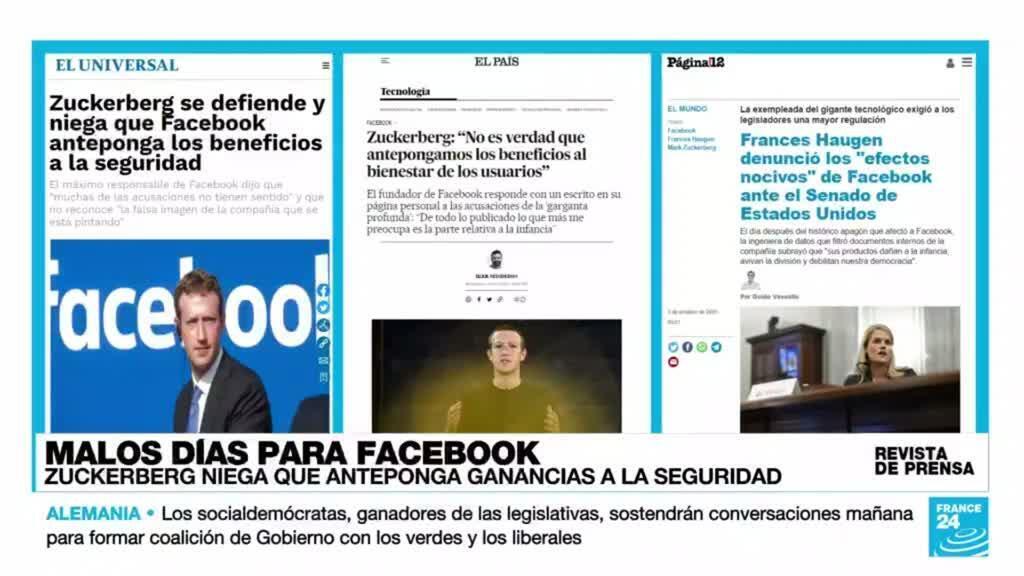 Cobertura de El Universal, El País y Página 12 de la reacción de Facebook a la declaración ante el Senado de Frances Haugen.