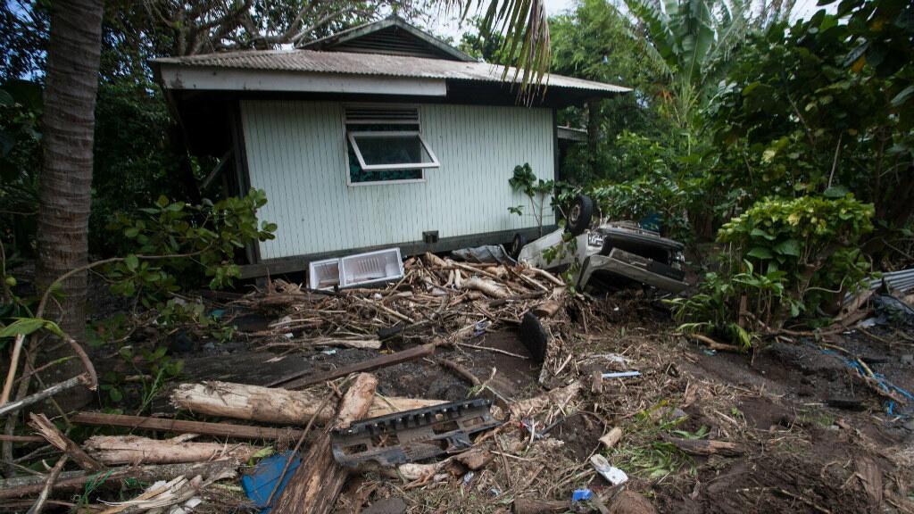 À Tahiti, les pluies diluviennes sont fréquentes, comme ici en 2015.