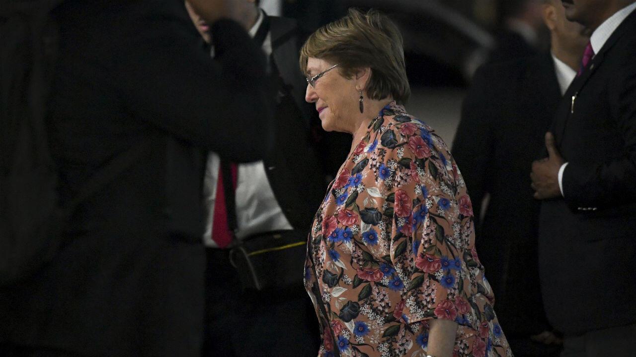 La alta comisionada de las Naciones Unidas para los derechos humanos, Michelle Bachelet, llegó al edificio del Ministerio de Relaciones Exteriores en Caracas el 19 de junio de 2019.