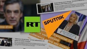 Montage de captures d'écran des sites en français de Sputnik et RT.
