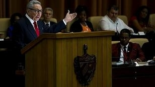 Cuban Communist Party chief Raul Castro speaking to the National Assembly upon ratification of a new constitution that recognizes a limited role for a free market
