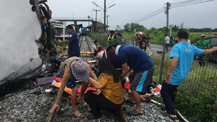 The bus and train collided at a location around 50 km (31 miles) east of Bangkok