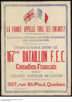 "Recruitment poster calls on ""all of France's children"" to join a French-Canadian battalion."