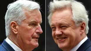 Le négociateur en chef de l'UE Michel Barnier (G) et le ministre britannique du Brexit David Davis (D).