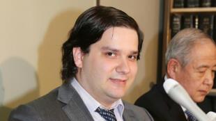 Mark Karpelès lors d'une conférence de presse à Tokyo, en février 2014