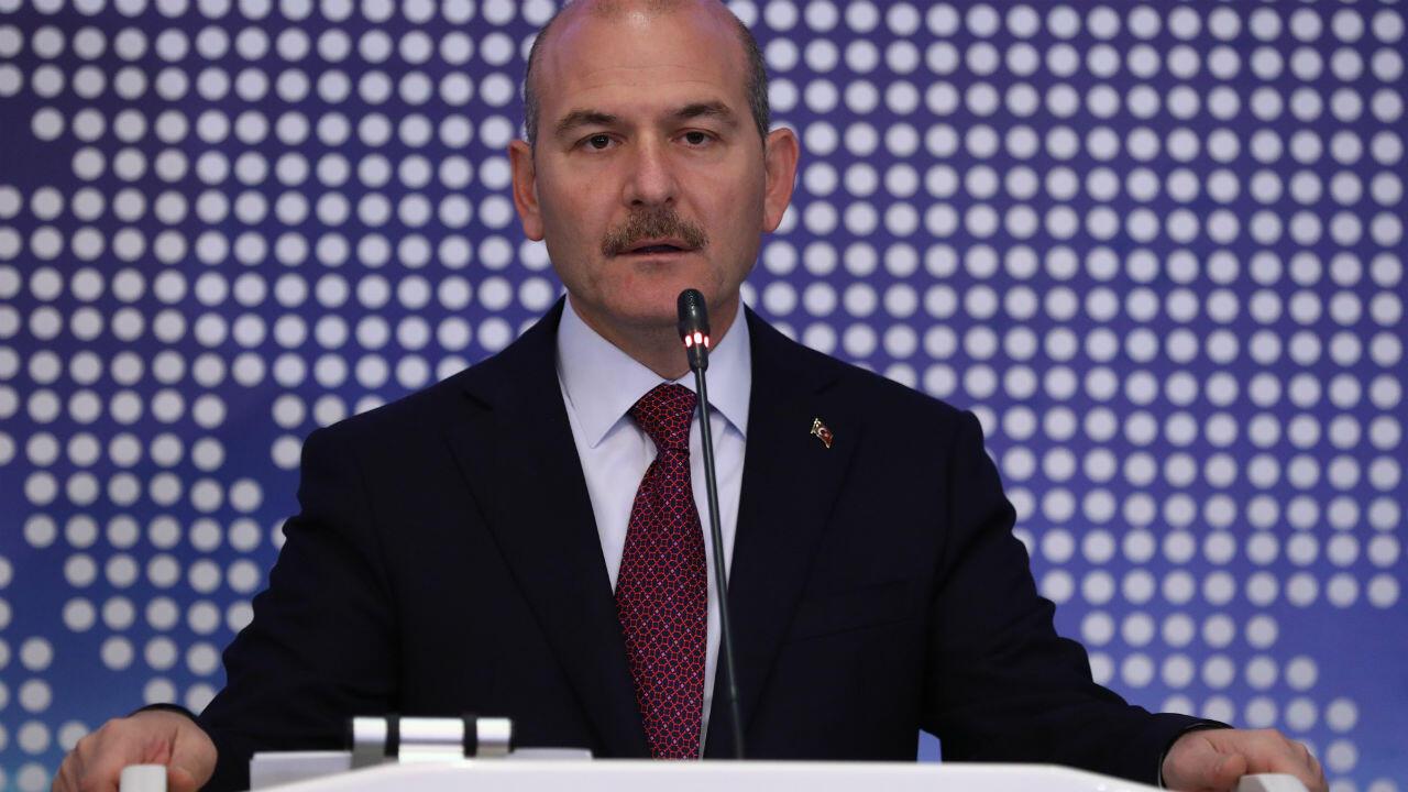 خطاب وزير الداخلية التركي سليمان سويلو خلال اجتماع لمناقشة التعاون في إدارة الهجرة في أنقرة، تركيا، 3 أكتوبر/ تشرين الأول 2019.