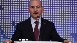 Turkey's Interior Minister Suleyman Soylu speech during a meeting to discuss cooperation on migration management in Ankara, Turkey, October 3, 2019.