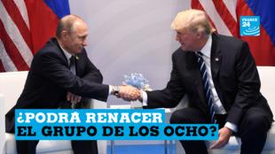 El presidente de Estados Unidos, Donald Trump, y el presidente de Rusia, Vladimir Putin, se dan la mano durante una reunión al margen de la Cumbre del G20 en Hamburgo, Alemania, el 7 de julio de 2017.