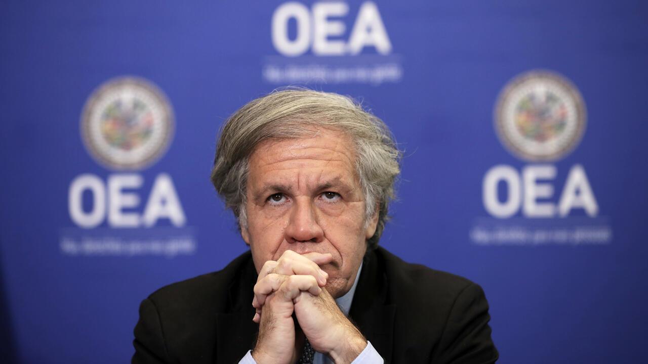 El Secretario General de la Organización de los Estados Americanos, Luis Almagro, participa en una conferencia de prensa en la OEA el 20 de marzo de 2019 en Washington, DC.