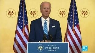 2020-11-26 08:05 Joe Biden delivers a Thanksgiving address seeking US unity