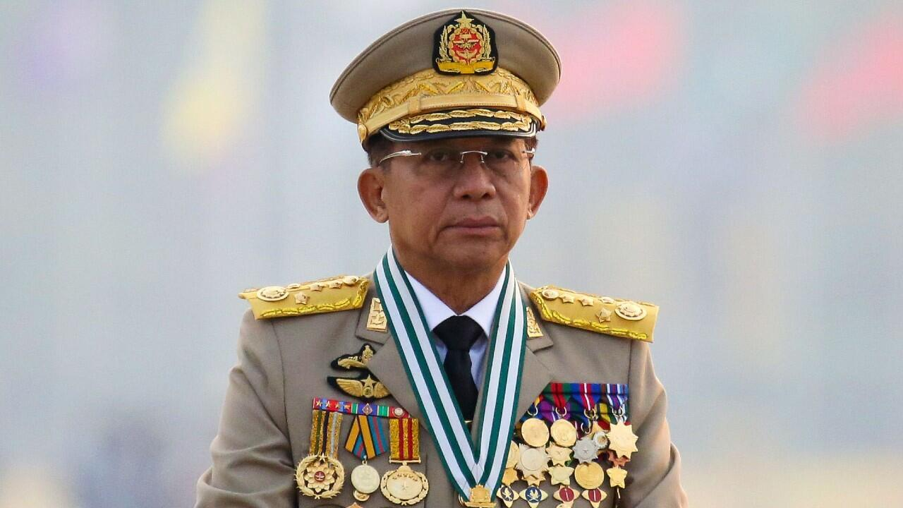 File - Major General Min Aung Hlong, the leader of Myanmar's military junta that overthrew the government elected in the February 1, 2021 coup, leads a military parade on March 27, 2021 in Naypyidaw, Myanmar.  .