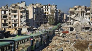 Des bus d'évacuation entrent dans Alep, le 16 décembre 2016.