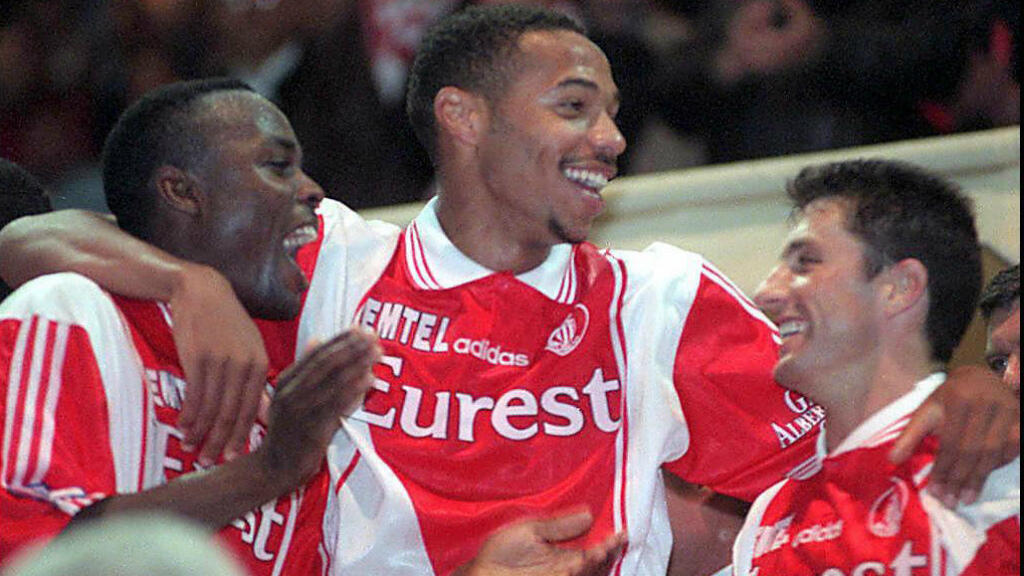 Henry celebrates winning 1997 Ligue 1 with Monaco