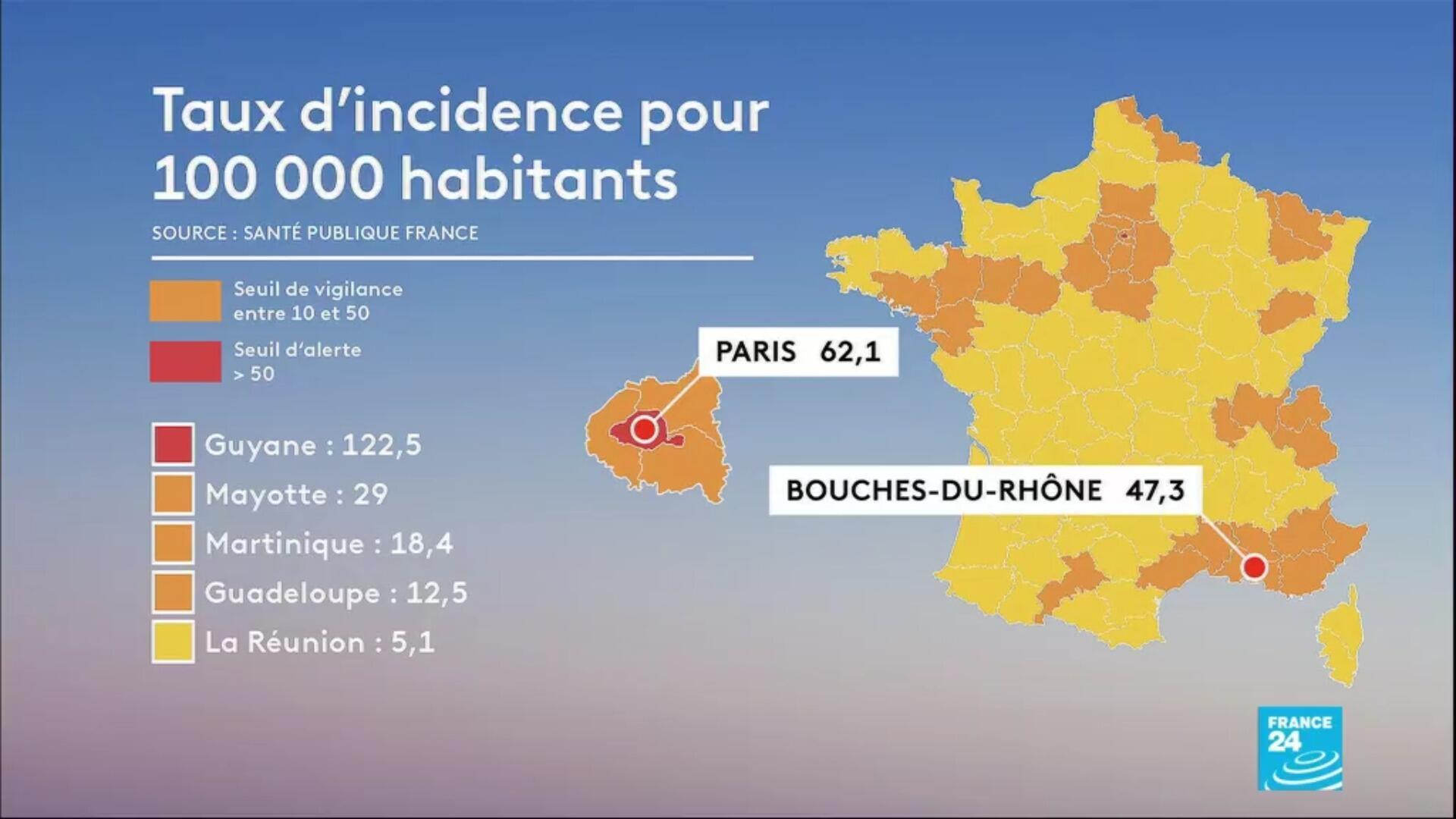 Taux d'incidence pour 100 000 habitants