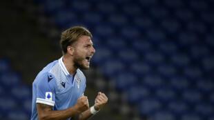 L'attaquant de la Lazio, Ciro Immobile, buteur lors du match de Serie A face à Brescia, à Rome, le 29 juillet 2020