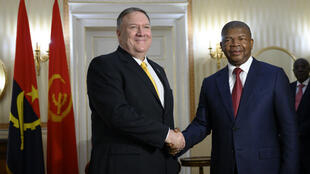 Angola's President João Lourenço welcomed US Secretary of State Mike Pompeo to the Presidential Palace in Luanda on February 17, 2020.