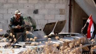 قوات الجيش السوري في خان شيخون جنوب إدلب شمال البلاد. 24 أغسطس/آب 2019.