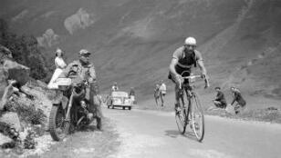 Gino Bartali dans les Pyrénées le 25 juillet 1950
