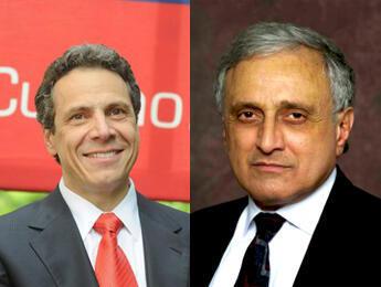 À gauche, le candidat démocrate Andrew Cuomo. À droite, le républicain Carl Paladino.