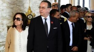 شاذلية قايد السبسي وابنها حافظ خلال تشييع الرئيس التونسي الراحل. 27 يوليو/تموز 2019.