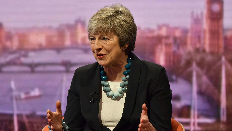La primera ministra británica, Theresa May, aparece en el programa The Andrew Marr Show de la BBC en Londres, Reino Unido, el 6 de enero de 2019.