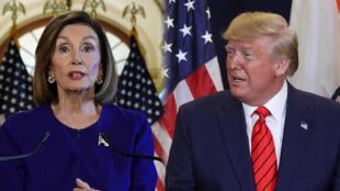 La presidenta de la Cámara de Representantes, Nancy Pelosi (izquierda) anuncia el inicio del juicio político contra el presidente Donald Trump (derecha) este 24 de septiembre.