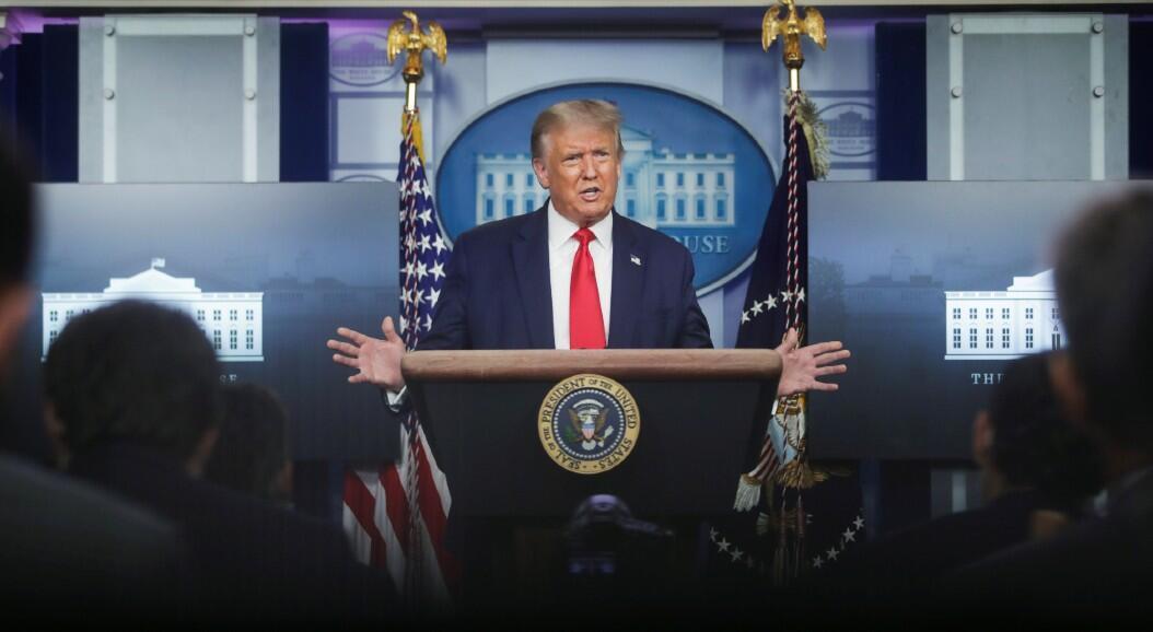 El presidente Donald Trump, durante una rueda de prensa, en la Casa Blanca, en Washington, Estados Unidos, el 3 de agosto de 2020.