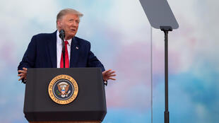 """US President Donald Trump described his idea for a national park of """"American heroes"""" while speaking on July 4, 2020, in the White House garden"""