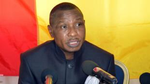 Moussa Dadis Camara lors d'une conférence de presse à Ouagadougou, le 11 mai 2015
