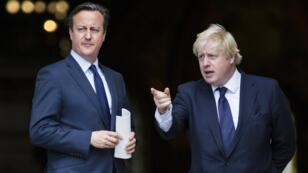 Les leaders des deux camps opposés sur la question du référendum sur le Brexit, David Cameron et Boris Johnson, le 7 juillet 2015, à Londres, le 7 juillet 2015.