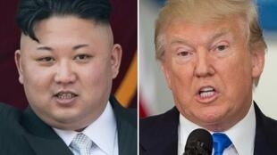 تركيب صورتين لكل من الرئيس الأمريكي دونالد ترامب وزعيم كوريا الشمالية كيم جونغ أون