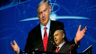 Benjamin Netanyahou a condamné la fronde des 43 réservistes lors d'une conférence à Tel-Aviv, le 14 septembre.