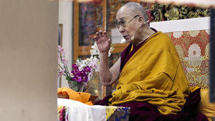 Tibetan spiritual leader the Dalai Lama, who has advocated greater autonomy in the Himalayan region, speaks at a temple in his home in exile in Dharamshala, India in November 2019